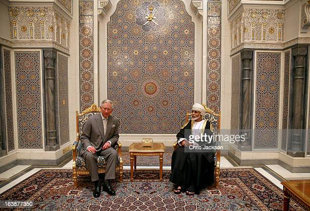Prince Charles Prince of Wales has an audience with the Sultan of Oman Qaboos bin Said Al Saidat at the Sultan's Palace at Bayt al Baraka on the...