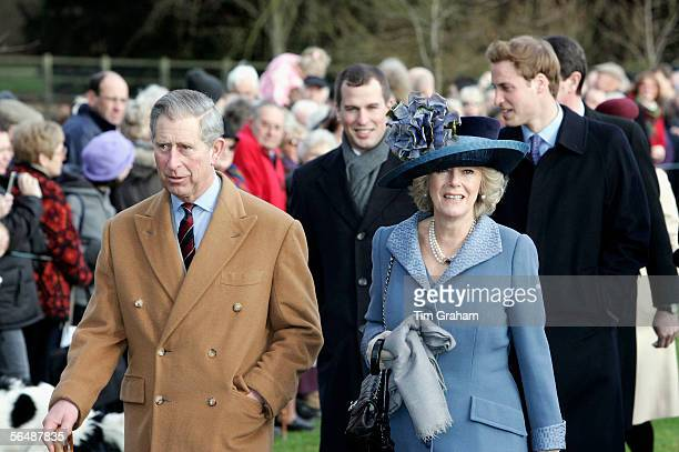 Prince Charles Prince of Wales his wife Camilla Duchess of Cornwall Peter Phillips and Prince William attend Christmas Day service at Sandringham...