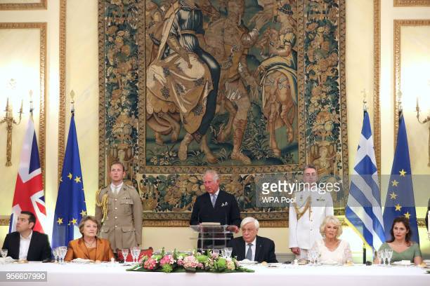 Prince Charles Prince of Wales holds a speech while Greek prime minister Alexis Tsipras Vlassia Pavlopoulou President of Greece Prokopis Pavlopoulos...