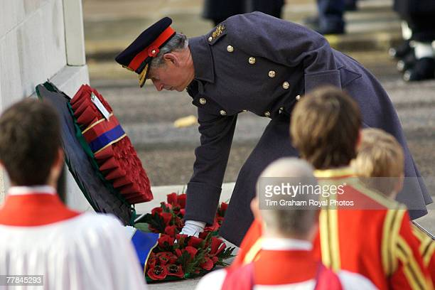 Prince Charles Prince of Wales in army uniform at the Cenotaph in Whitehall to lay a wreath on Remembrance Sunday to commemorate the war dead on...