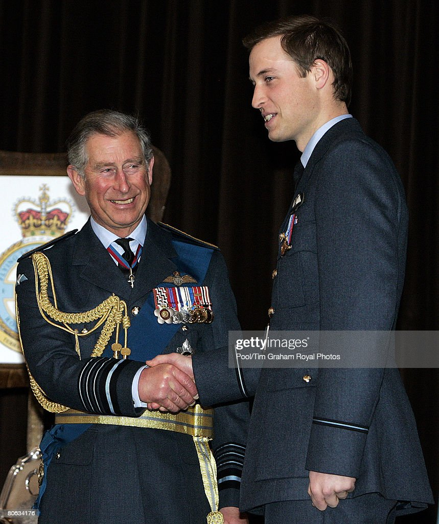Prince Charles, Prince of Wales in his role as Air Chief Marshal presents Prince William with his RAF wings in a graduation ceremony at the end of his Royal Air Force training at the Central Flying School at RAF Cranwell in Sleaford on April 11, 2008 in Lincolnshire, England.
