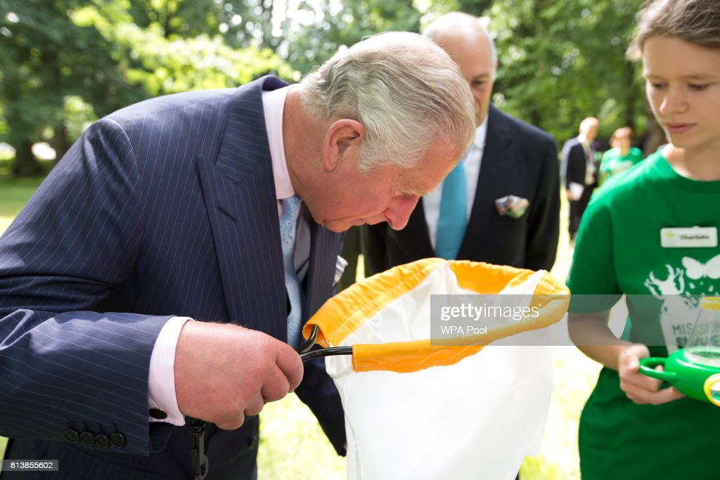 Prince Charles, Prince of Wales inspects insects with Loyd Grossman and pupils St.James & St.John Church of England Primary School as he launches the new Royal Parks charity, of which he is a patron, at Hyde Park on July 13, 2017 in London, United Kingdom.
