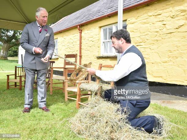 Prince Charles Prince of Wales is givin a chair making demonstration during a visit to Muckross House on June 15 2018 in Killarney Ireland The Prince...