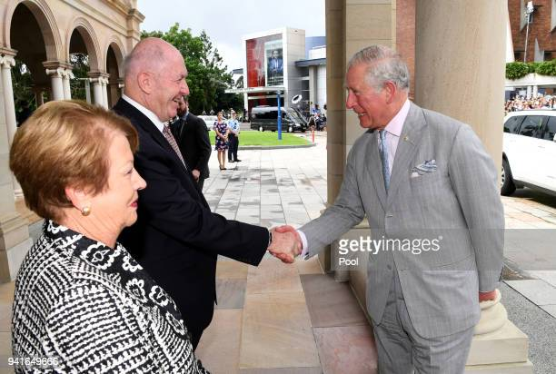 Prince Charles Prince of Wales is greeted by the GovernorGeneral Sir Peter Cosgrove and his wife Lynne Cosgrove on arrival to Brisbane on April 4...