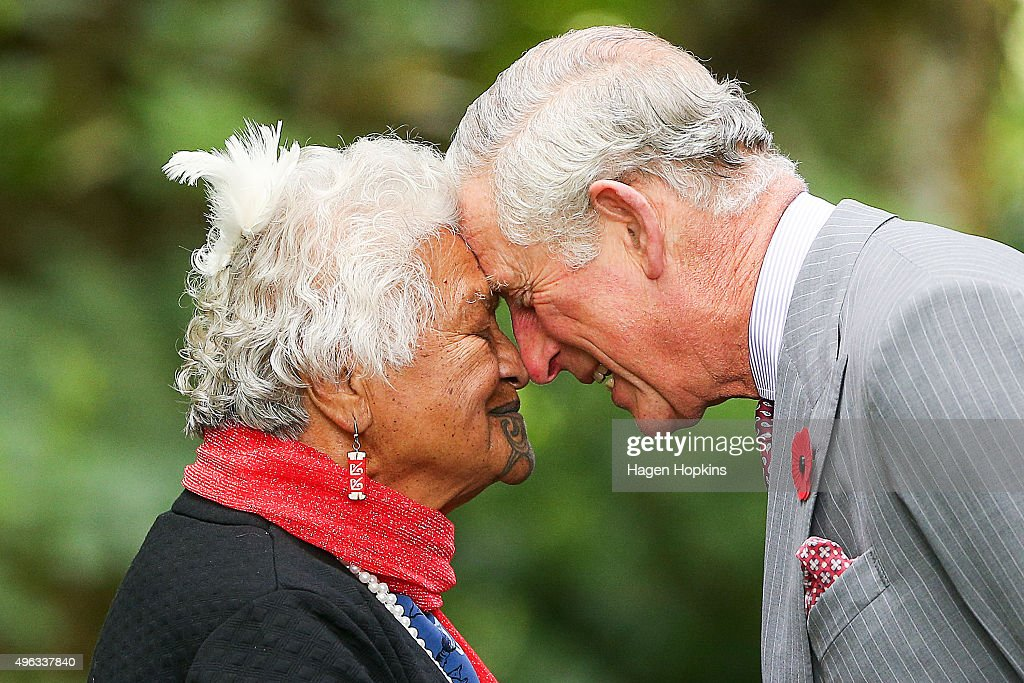 Prince Charles, Prince of Wales is greeted with a hongi during the 'Tea With Taranaki' event at Brooklands Park on November 9, 2015 in New Plymouth, New Zealand. The Royal couple are on a 12-day tour visiting seven regions in New Zealand and three states and one territory in Australia.
