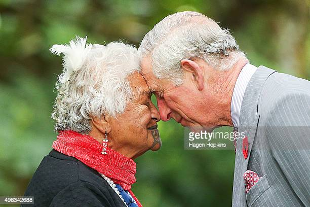 Prince Charles Prince of Wales is greeted with a hongi during the 'Tea With Taranaki' event at Brooklands Park on November 9 2015 in New Plymouth New...