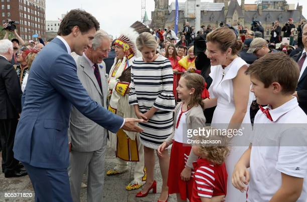 Prince Charles, Prince of Wales is introduced to Justin Trudeau's family, Sophie Grégoire Trudeau, Hadrien Trudeau, Ella-Grace Trudeau and Xavier...