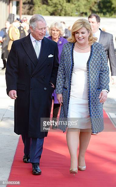 Prince Charles Prince of Wales is officially welcomed by Croatian President Kolinda GrabarKitarovic as he and Camilla Duchess of Cornwall arrive for...