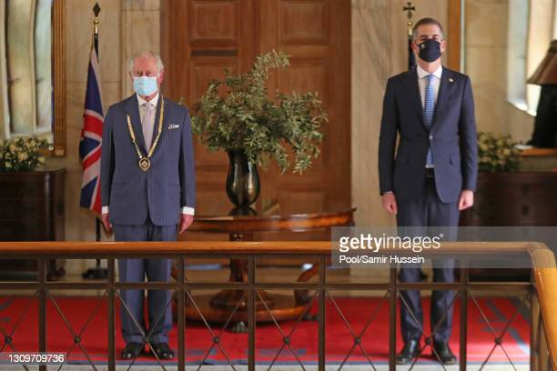 Prince Charles, Prince of Wales is presented with the Gold Medal of Athens by the Mayor of Athens, Kostas Bakoyannis at Athens City Hall on March 25,...