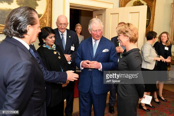 Prince Charles Prince of Wales is seen alongside the Executive Director of the Crop Trust Marie Haga and President of Mauritius and Chair of the...