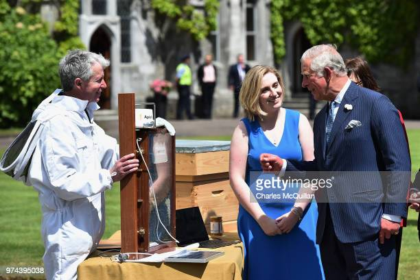 Prince Charles Prince of Wales is shown a bee keeping demonstration by Fiona EdwardsMurphy during a visit to University College Cork on June 14 2018...