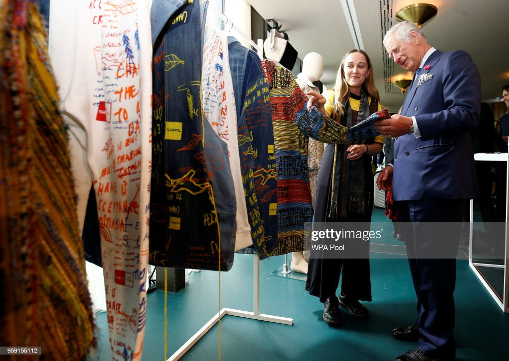 Prince Charles, Prince of Wales is shown clothing as he visits the new Tech Hub at the Yoox Net-a-Porter Group offices on May 16, 2018 in London England.