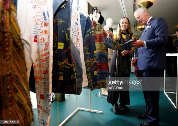 Prince Charles Prince of Wales is shown clothing as he visits the new Tech Hub at the Yoox NetaPorter Group offices on May 16 2018 in London England