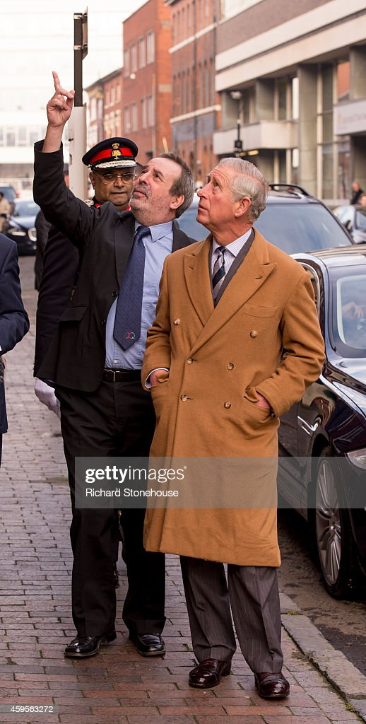 Prince Charles, Prince of Wales is shown re developement of the Jewellery Quarter by David Mahony (Chair of the Jewellery Quarter) during a visit to the Birmingham University School of Jewellery on November 25, 2014 in Birmingham, England.