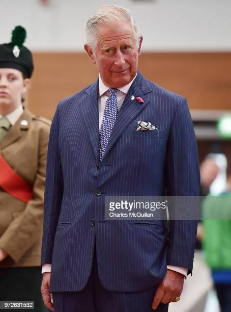 Prince Charles Prince of Wales is treated to a judo display during a visit to Ulster University's Colraine Campus on June 12 2018 in County...