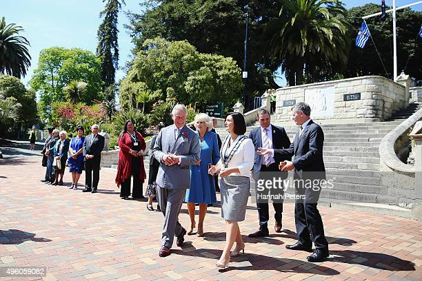 Prince Charles, Prince of Wales is welcomed by Nelson Mayor Rachel Reese on November 7, 2015 in Nelson, New Zealand. The Royal couple are on a 12 day...