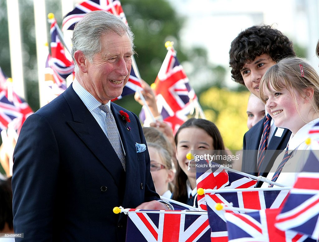 Prince Charles, Prince of Wales is welcomed by students upon his arrival at the National Museum of Emerging Science and Innovation (Miraikan Museum) on October 28, 2008 in Tokyo, Japan. The Prince and the Duchess are in Japan to celebrate the 150th anniversary of diplomatic relations with the United Kingdom.