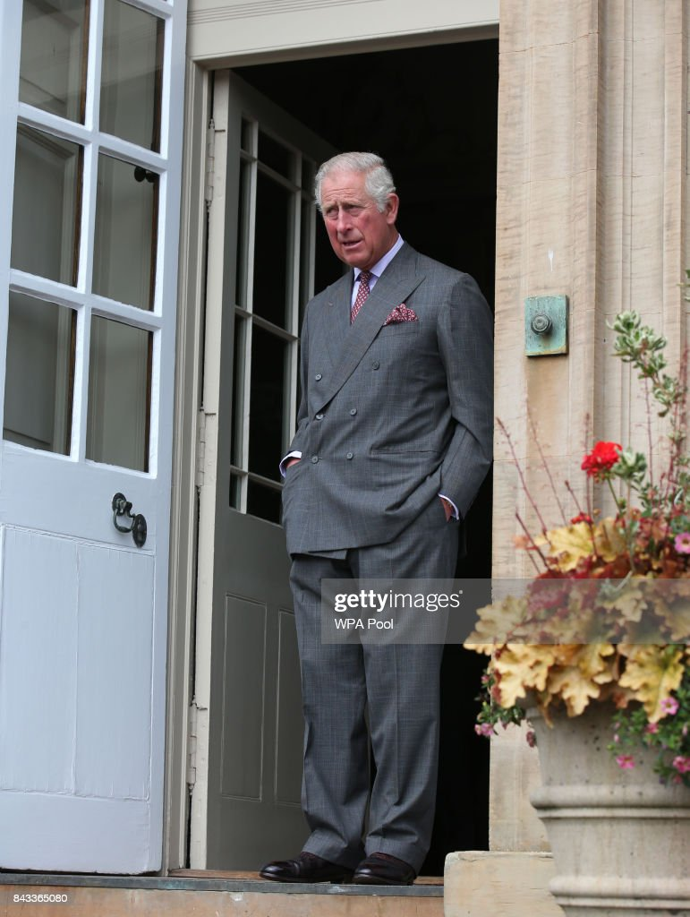 Prince Charles, Prince of Wales, known as the Duke of Rothesay in Scotland, awaits the arrival of President of Ireland Michael D Higgins and his wife Sabina at Dumfries House on September 6, 2017 in Cumnock, Scotland.