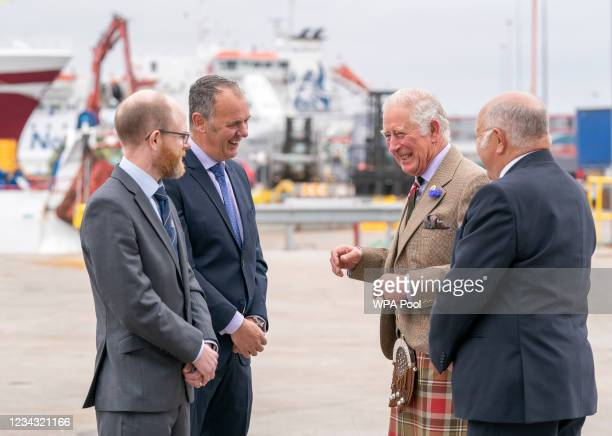 Prince Charles, Prince of Wales, known as the Duke of Rothesay when in Scotland, during a visit to the Lerwick Harbour Fish Market at Shetland...