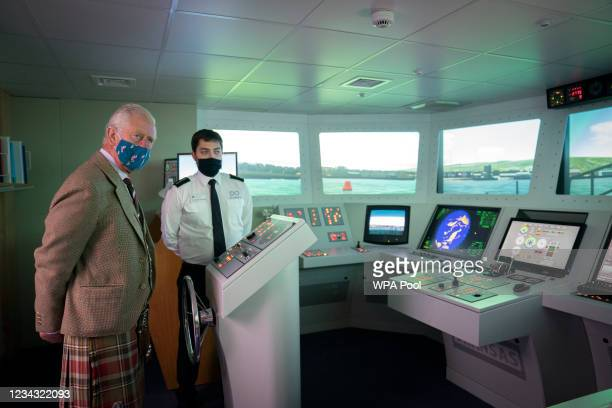 Prince Charles, Prince of Wales, known as the Duke of Rothesay when in Scotland, during a visit to the NAFC Marine College, at Port Arthur, to meet...