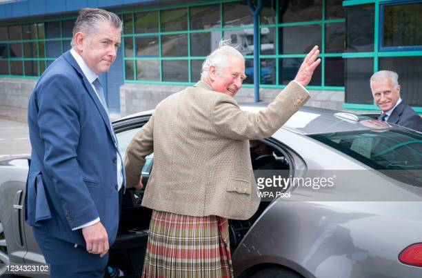 Prince Charles, Prince of Wales, known as the Duke of Rothesay when in Scotland, waves to well-wishers after a visit to the NAFC Marine College, at...