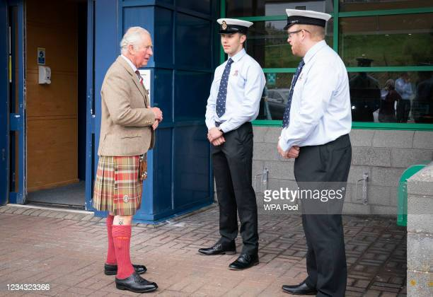 Prince Charles, Prince of Wales, known as the Duke of Rothesay when in Scotland, meets representatives from the RNLI during a visit to the NAFC...