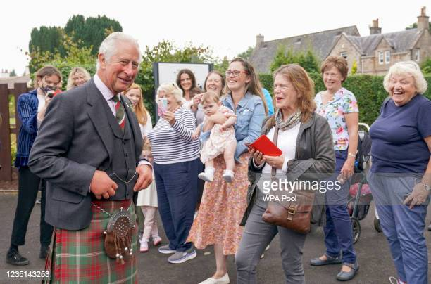 Prince Charles, Prince of Wales, known as the Duke of Rothesay when in Scotland, meets members of the local community during a visit to Alloway Main...