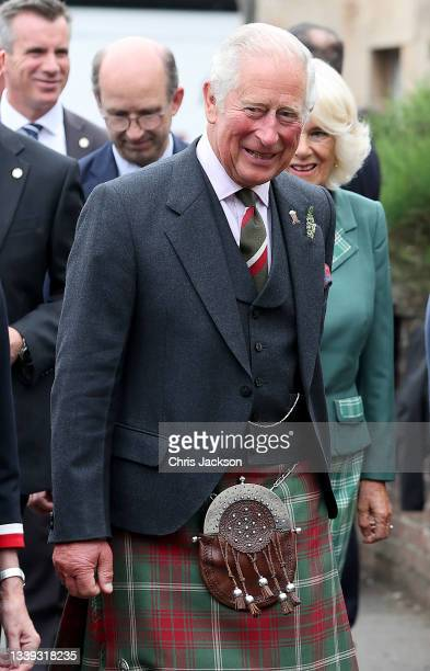 Prince Charles, Prince of Wales known as the Duke of Rothesay when in Scotland, visits Alloway mainstreet on September 09, 2021 in Ayr, United...