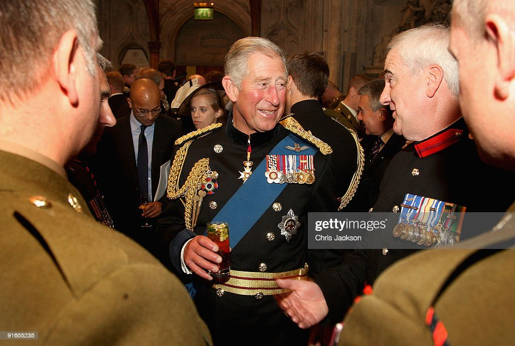 Prince Charles, Prince of Wales laughs as he chats with soldiers during a reception at London Guildhall after a Service of Commemoration to mark the end of combat operations in Iraq on October 9, 2009 in London, England. The commemoration was attended by veterans and the relatives of the 179 who died during the conflict which officially ended on April 30.
