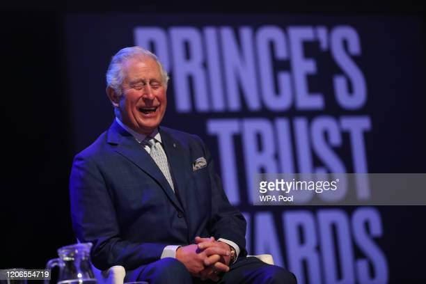 Prince Charles, Prince of Wales laughs on stage as he attends the Prince's Trust And TK Maxx & Homesense Awards at London Palladium on March 11, 2020...