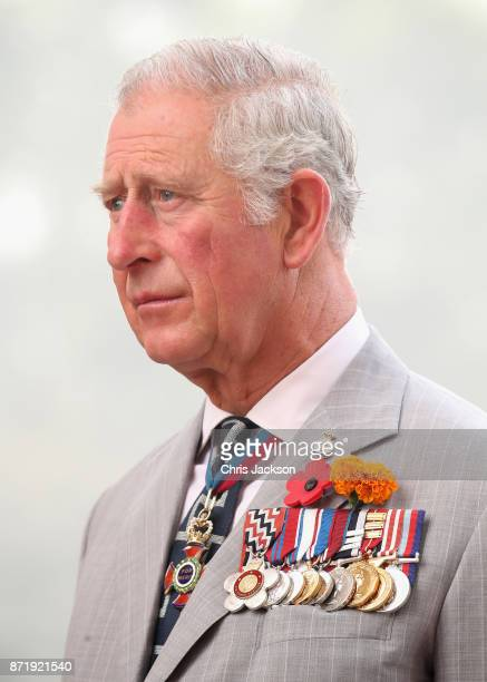 Prince Charles Prince of Wales lays a wreath at India Gate during a visit to India on November 9 2017 in New Delhi India The Prince of Wales and...
