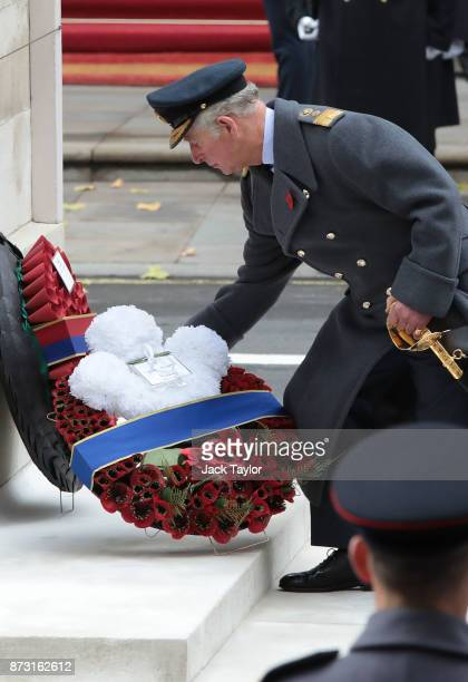 Prince Charles Prince of Wales lays a wreath at the annual Remembrance Sunday memorial at the Cenotaph on Whitehall on November 12 2017 in London...