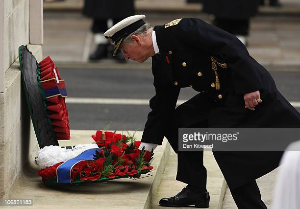 Prince Charles Prince of Wales lays a wreath at the Cenotaph during Remembrance Sunday in Whitehall on November 14 2010 in London England Remembrance...