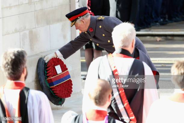 Prince Charles Prince of Wales lays a wreath at The Cenotaph on behalf of Queen Elizabeth II during the annual Remembrance Sunday memorial on...