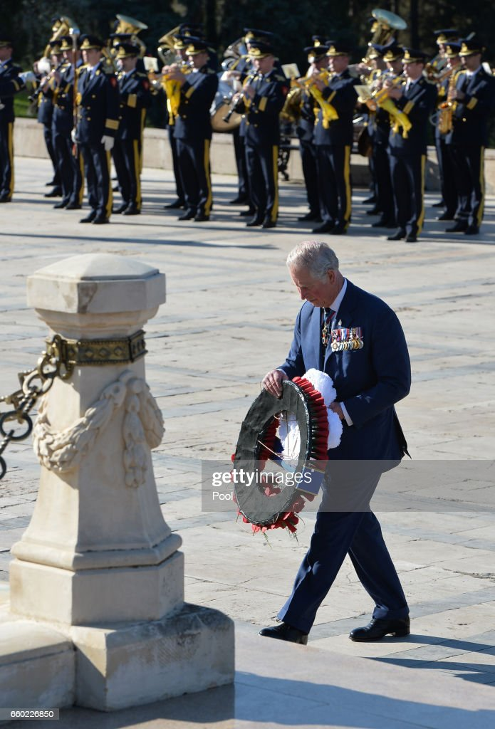 Prince Charles, Prince of Wales lays a wreath at the Tomb of the Unknown Soldier in Bucharest at the start of his nine day European tour on March 29, 2017 in Bucharest, Romania.