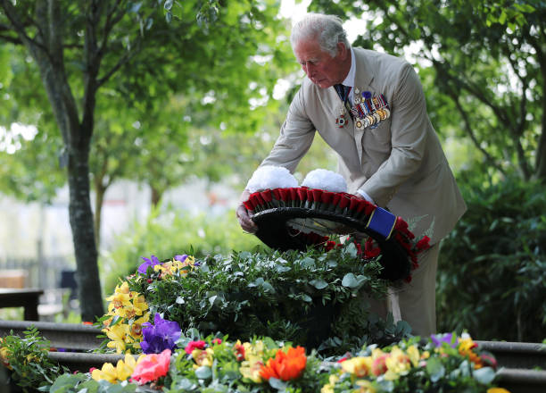GBR: The Prince Of Wales And The Duchess Of Cornwall Attend A National Service Of Remembrance Marking The 75th Anniversary Of VJ Day