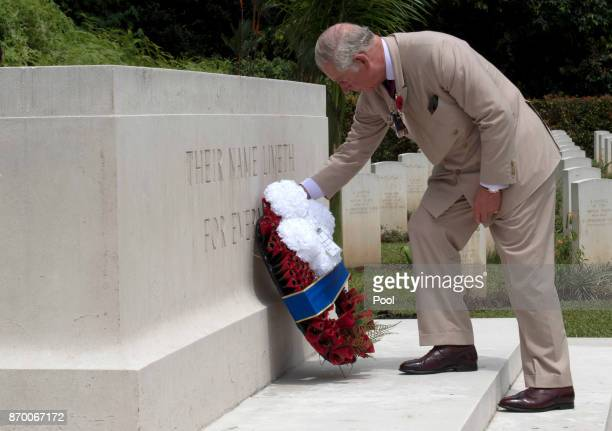 Prince Charles Prince of Wales lays a wreath during a visit to the Taiping Commonwealth War Graves Cemetery on November 04 2017 in Taiping Malaysia