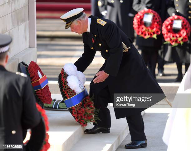 Prince Charles, Prince of Wales lays a wreath during the annual Remembrance Sunday memorial at The Cenotaph on November 10, 2019 in London, England.