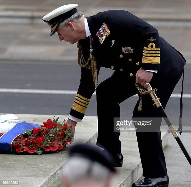 Prince Charles, Prince of Wales lays a wreath during the VE Day 65th anniversary tributes at the Cenotaph in Whitehall on May 8, 2010 in London,...