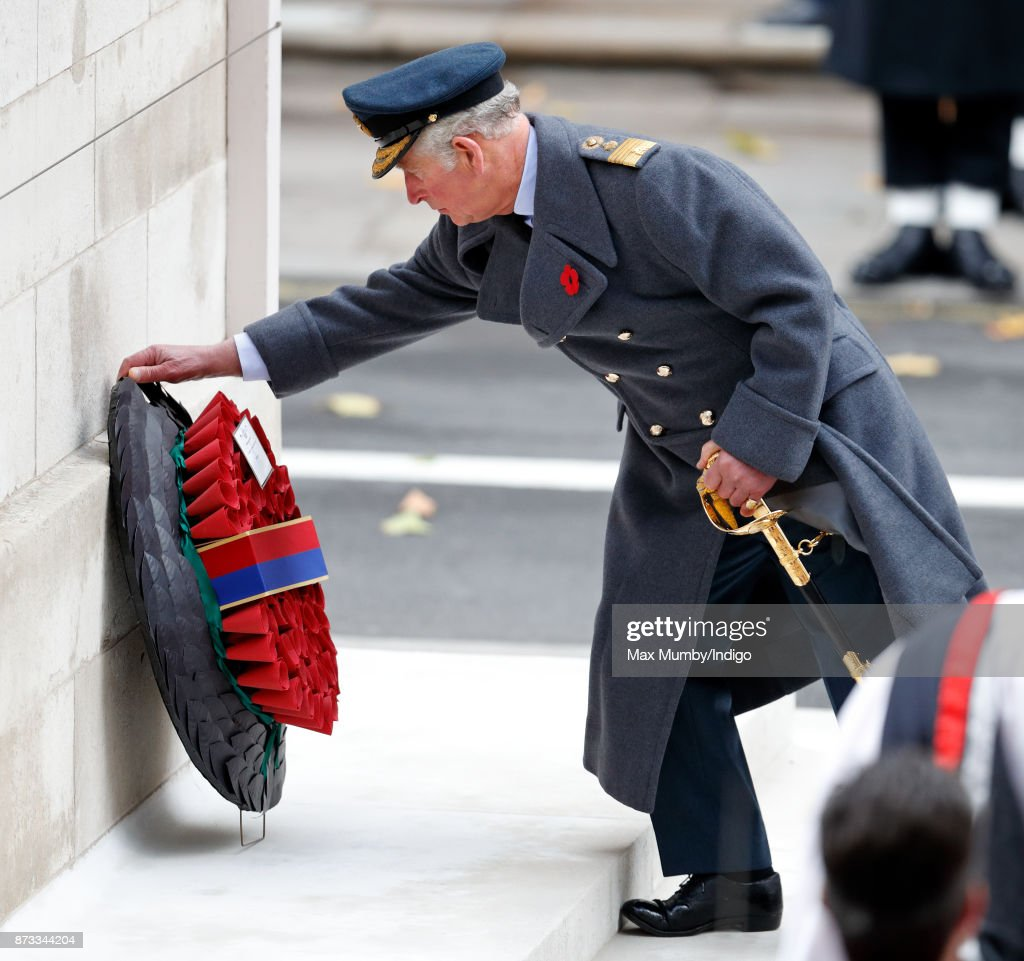 Prince Charles, Prince of Wales lays a wreath on behalf of Queen Elizabeth II during the annual Remembrance Sunday Service at The Cenotaph on November 12, 2017 in London, England. This year marks the first time that Queen Elizabeth II watched the service from a balcony rather than lay her own wreath, instead Prince Charles, Prince of Wales laid her wreath on her behalf.