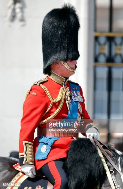 Prince Charles Prince of Wales leaves Buckingham Palace on horseback during the annual Trooping the Colour Parade on June 17 2017 in London England...