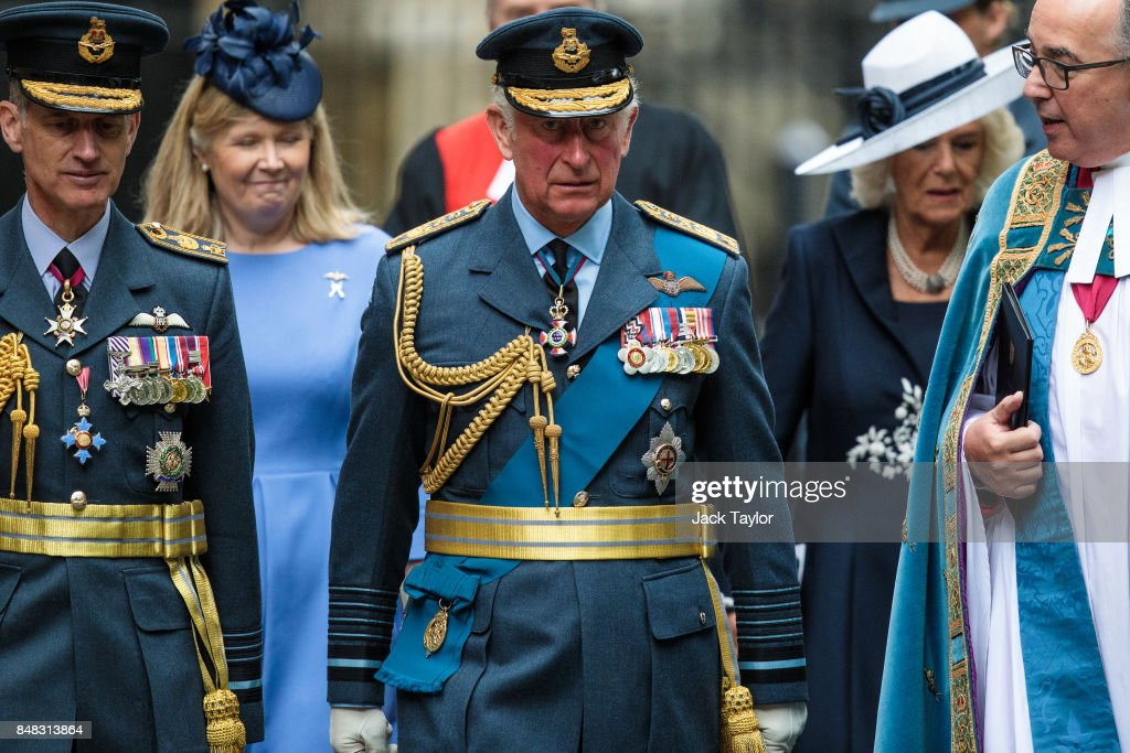 Prince Charles, Prince of Wales leaves following a service to mark the 77th anniversary of the Battle of Britain at Westminster Abbey on September 17, 2017 in London, England. The annual service remembers the pilots and aircrew of the Royal Air Force who lost their lives in the 1940 Battle of Britain during World War II.