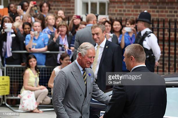 Prince Charles Prince of Wales leaves The Lindo Wing after visiting Catherine Duchess Of Cambridge and her newborn son at St Mary's Hospital on July...