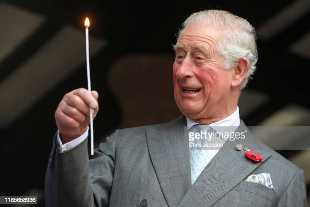 Prince Charles, Prince of Wales lights a beacon to officially launch the Gilpin 2020 Festival, the flame goes out immediately much to the amusement...