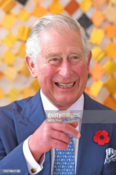 Prince Charles Prince of Wales looks at artwork made from recycled plastics as he attends a plastics event at Sandbox on day six of his trip to west...