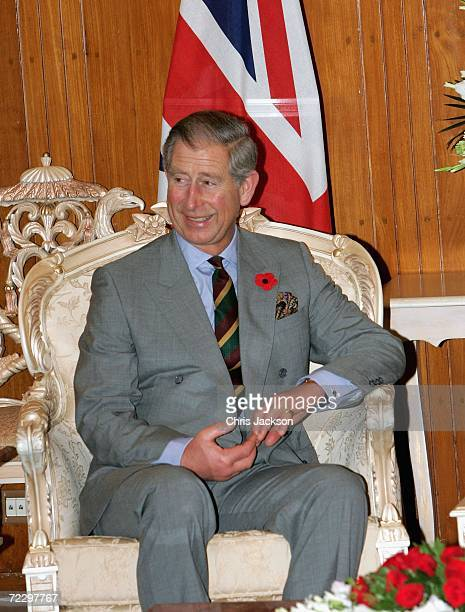 Prince Charles Prince of Wales looks on as he meets with President of Pakistan Perez Musharraf at the Presidency on day two of a week long tour of...