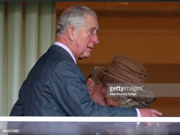 Prince Charles Prince of Wales looks on as Sir Nicholas Soames kisses Camilla Duchess of Cornwall during The Prince's Countryside Fund Raceday at...