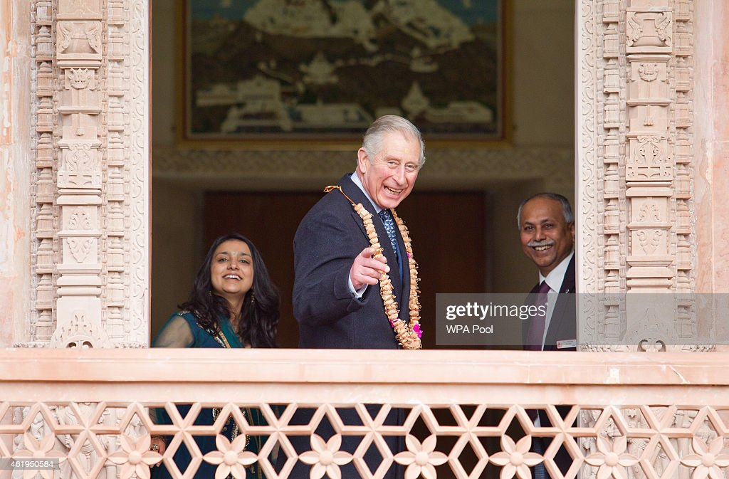Prince Charles, Prince Of Wales looks out at the gardens during a tour of the Jain Temple on January 22, 2015 in Potters Bar, Hertfordshire, England. The Prince Of Wales was later presented with the Ahimsa Award which recognises individuals who show compassion and tolerance to humanity, animals and the environment.
