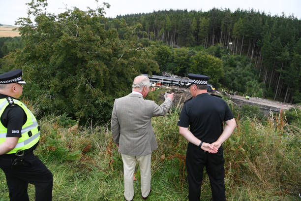 GBR: Prince of Wales Visits Site of Train Crash at Stonehaven
