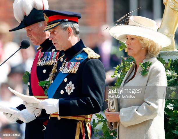 Prince Charles, Prince of Wales makes a speech as he and Camilla, Duchess of Cornwall attend the annual Founder's Day Parade at the Royal Hospital...